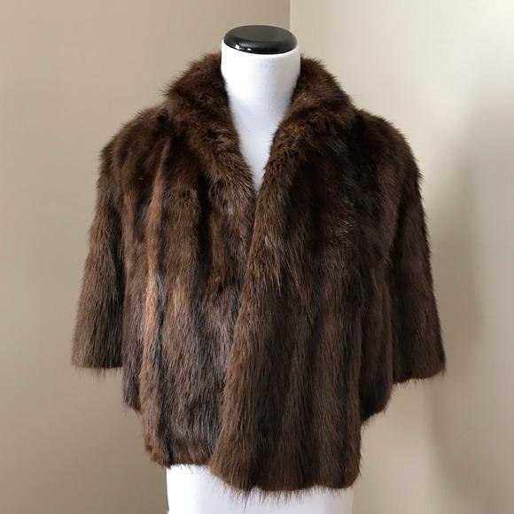 Vintage Brown Fur Capelet Jacket
